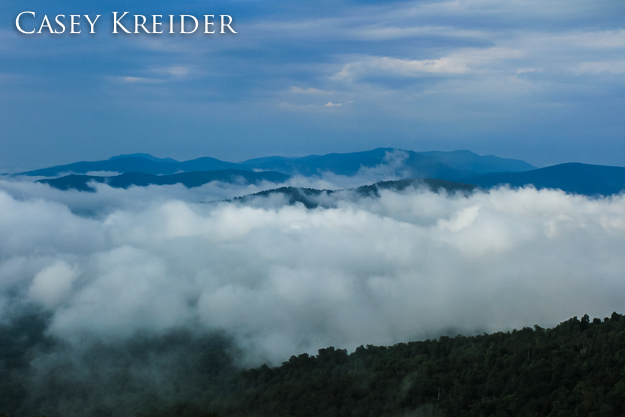 Morning fog, Range View Overlook, Shenandoah National Park, July 28, 2013.