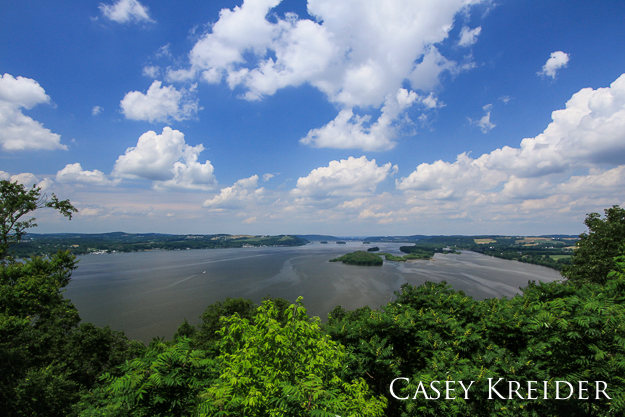 View over the Susquehanna River and Conejohela Flats from the Turkey Hill Trail Observation Platform.