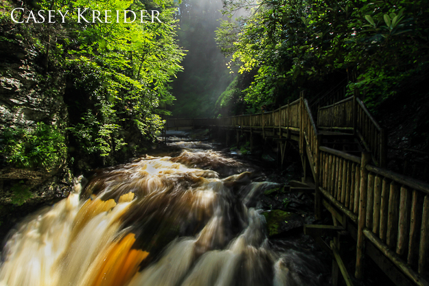 Morning mist from Bushkill Falls at the bridge  over the Lower Gorge Falls, June 9, 2013.