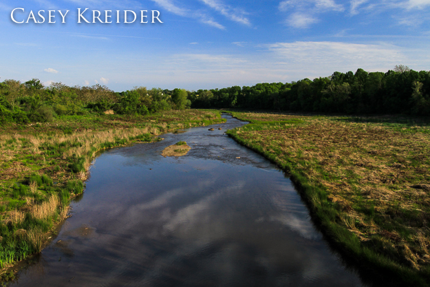Hammer Creek cuts through the Speedwell Forge Lake bed, May 16, 2013.