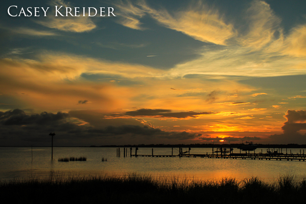 Sunset over Kitty Hawk Bay in the Outer Banks, July 13, 2012.