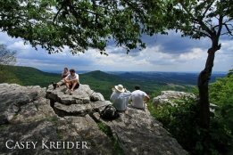Hikers rest at Pulpit Rock on the Appalachian Trail, June 3, 2012.