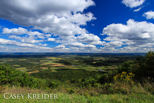 """Easterly view from the Summit Road hang glider launch in Buchanan State Forest, Fulton County, Sept. 23, 2012.""""]"""