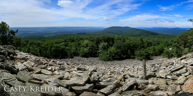 Six-shot panorama from south-facing Butler Knob on the Standing Stone Trail in Huntingdon County, July 9, 2013.