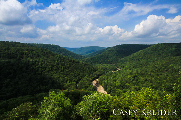 Clouds roll across Loyalsock Canyon after a brief storm in World's End State Park.