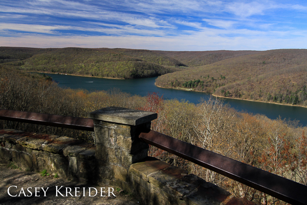 A boat heads up Kinzua Bay at Rimrock Overlook in Allegheny National Forest.