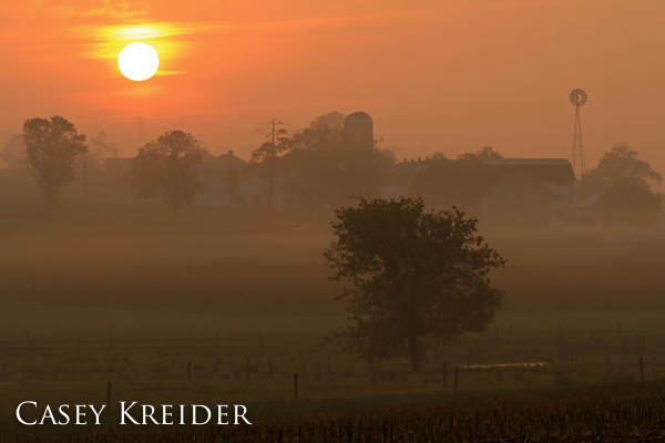 Sunrise over a farm on Becker Road from Creek Road outside Lititz.