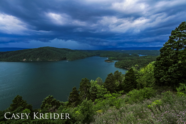 A severe thunderstorm passes over Raystown Lake from Hawns Overlook in Huntingdon County.