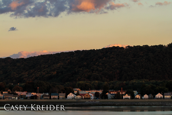 Late light on homes along the Susquehanna River in Sunbury, Pa.
