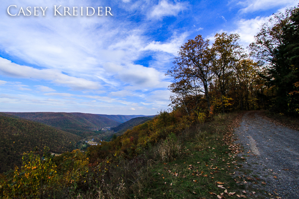 Standing on the roof of my car to gain elevation at Lebo Vista along the Pine Creek Gorge in Lycoming County.