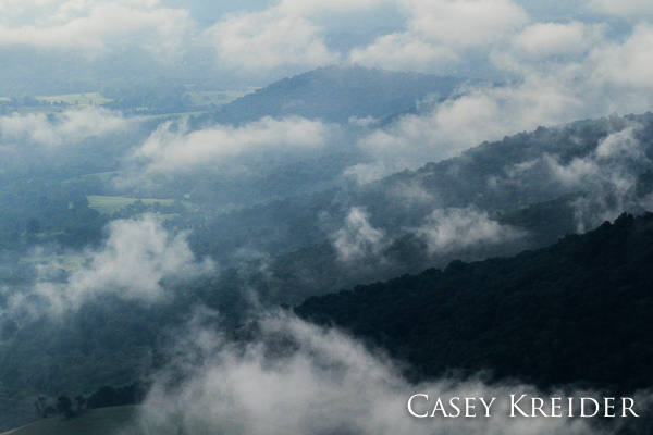 A light morning fog lingers over the Shenandoah Valley from Skyline Drive in Shenandoah National Park.