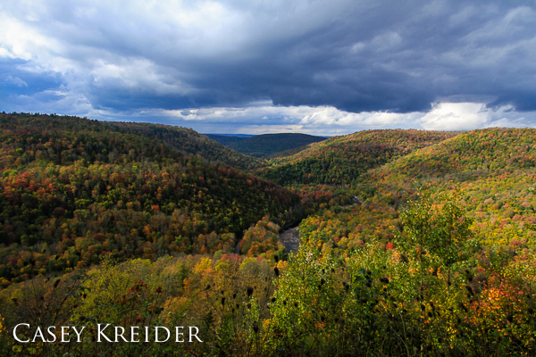 An autumn storm passes over Loyalsock Canyon Vista in Worlds End State Park.