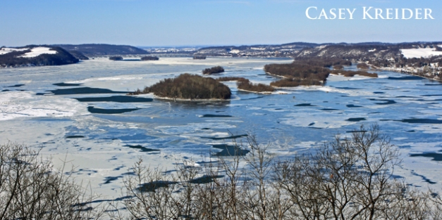 The Susquehanna River begins to freeze as viewed from the Turkey Hill observation platform in Manor Township Wednesday afternoon.