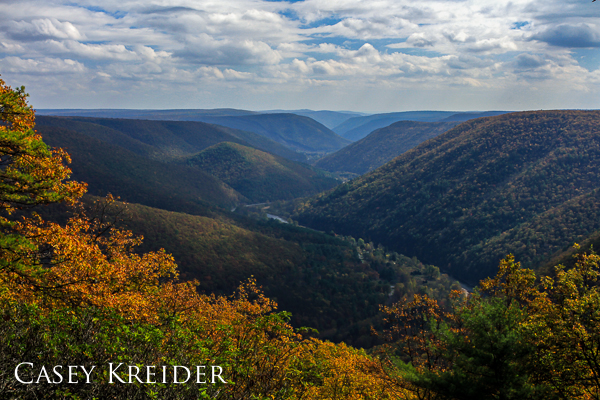 View south over the Pine Creek Gorge from the Black Forest Trail in Lycoming County.