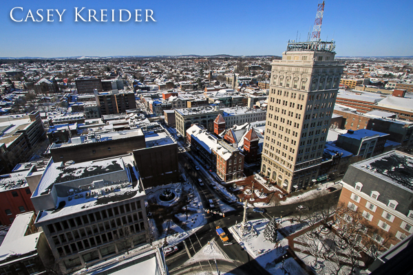 A view west over snow-covered Penn Square and Lancaster city from the 18th floor of the Lancaster Marriott at Penn Square Friday afternoon.