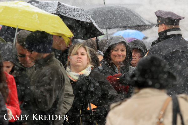 People wait in line to enter the Supreme Court in Washington D.C. Tuesday.