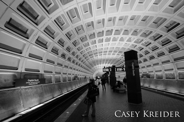 Waiting for a train at the Capitol South Metro station in Washington, D.C. on Tuesday afternoon.