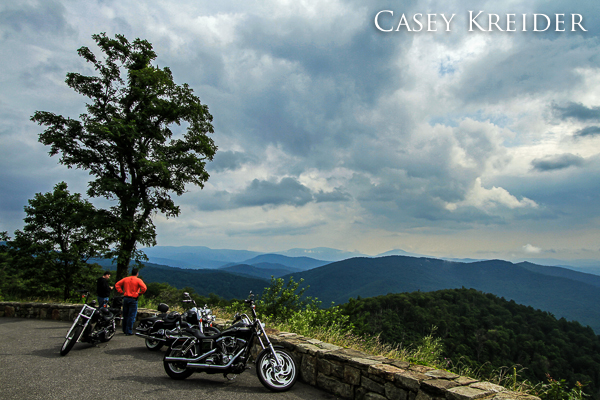 Motorcyclists take in the view from Buck Hollow Overlook on Skyline Drive in Shenandoah National Park.