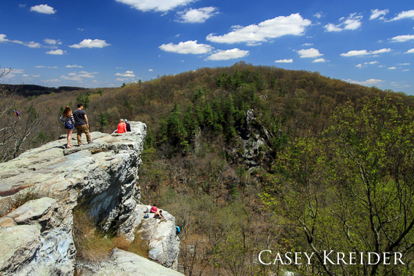 The King and Queen Seat, a 190-foot rock outcrop above Deer Creek in Rocks State Park (Md.) that was once a ceremonial gathering place of the Susquehannock Indians.