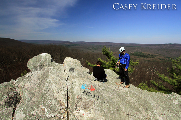 Rock climbers at Pole Steeple in Pine Grove Furnace State Park in Michaux State Forest.