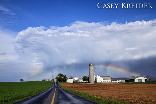 Rainbow and a passing shower over a farm in Clay Township Saturday afternoon.