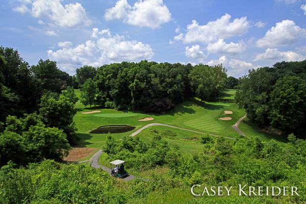 Shot from the tee box above holes 4 (right) and 13 (left) at Meadia Heights Golf Club outside Lancaster Monday morning.