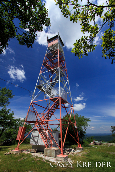 The Culver (Normanook) Fire Tower along the Appalachian Trail on the Kittatinny Ridge in Stokes State Forest, Sussex County, New Jersey.