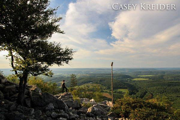Evening light and a northerly view from Hawk Mountain Sanctuary's North Lookout.