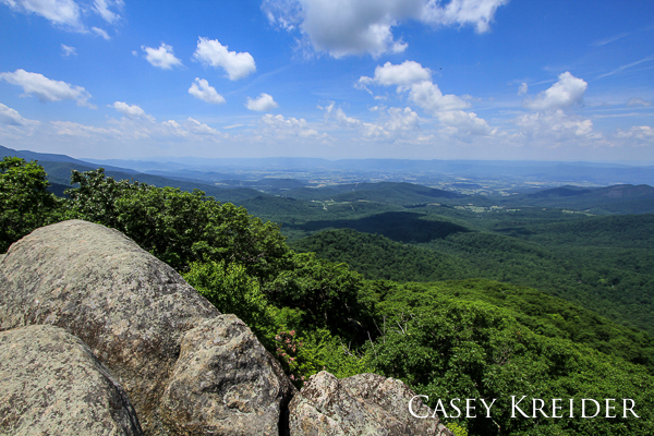 View west over the Shenandoah Valley from Marys Rock (3,515 ft.) in Shenandoah National Park.