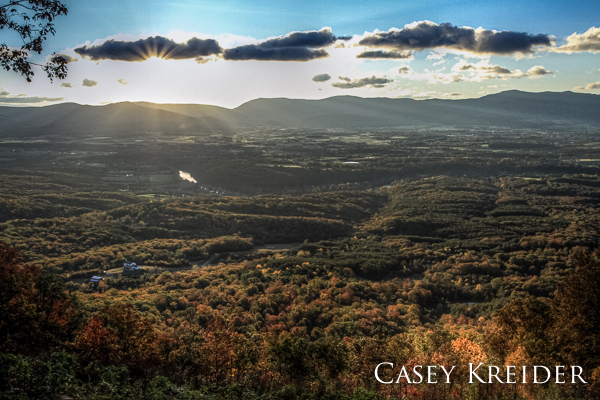 Sunrise over the Blue Ridge Mountains, Shenandoah Valley and  South Fork of the Shenandoah River from the Edith Gap hang glider launch on the Massanutten Mountain Ridge.