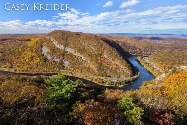 View of the Delaware Water Gap and Pennsylvania's Mount Minsi from across the Delaware River on New Jersey's Mount Tammany.