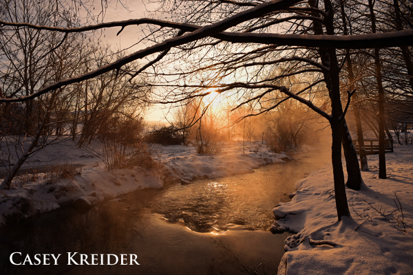 Sunrise over Lititz Run after a fresh snowfall.