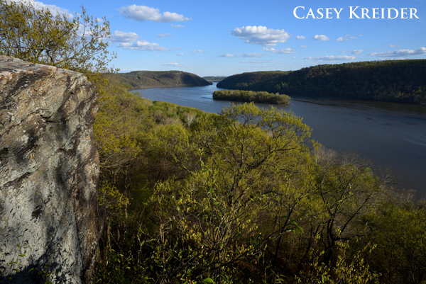 Short walk through House Rock Nature Preserve to a graffiti-tagged rock outcrop on the Susquehanna River.